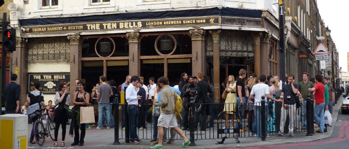 Participants in a Ripper walking tour gather at the historic Ten Bells pub in Commercial Street in London's East End. Photo by Steven Doyle.