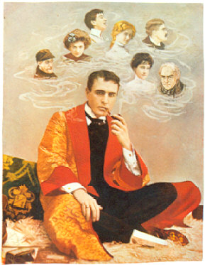 A cigarette card featuring Gillette as Holmes surrounded by faces of his disguises