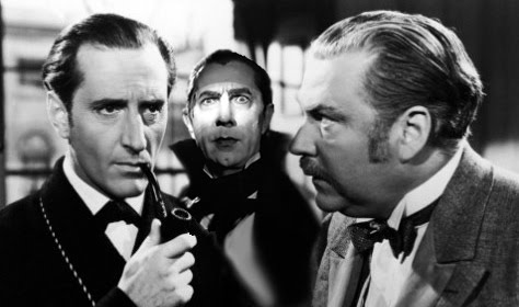 Basil Rathbone as Holmes and Nigel Brice as Watson stand with the vampire Dracula.