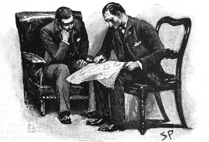 Holmes and Watson sit looking over a large paper