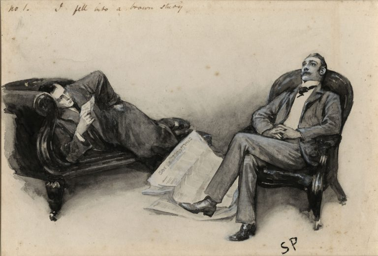Holmes reclines on a sofa while Watson sits in a chair, with a newpaper on the ground beside him